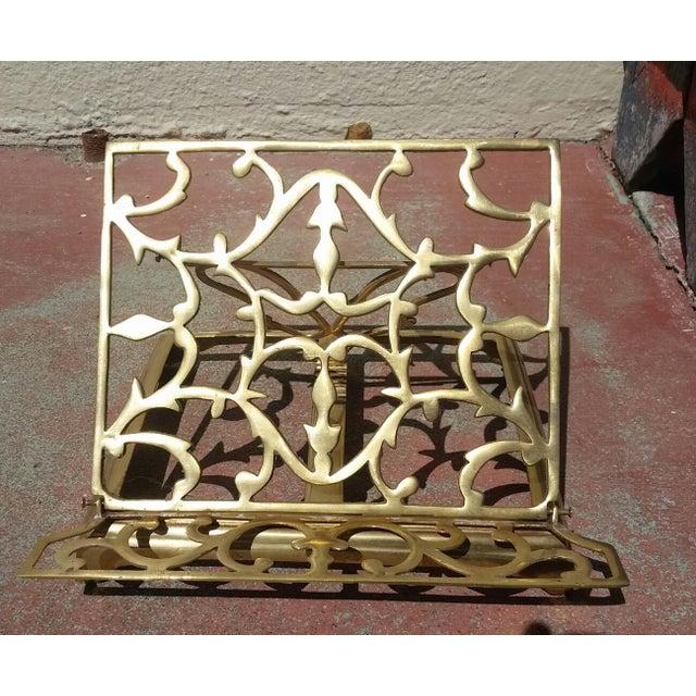 1970s Vintage Brass Folding Book Holder For Sale - Image 5 of 5