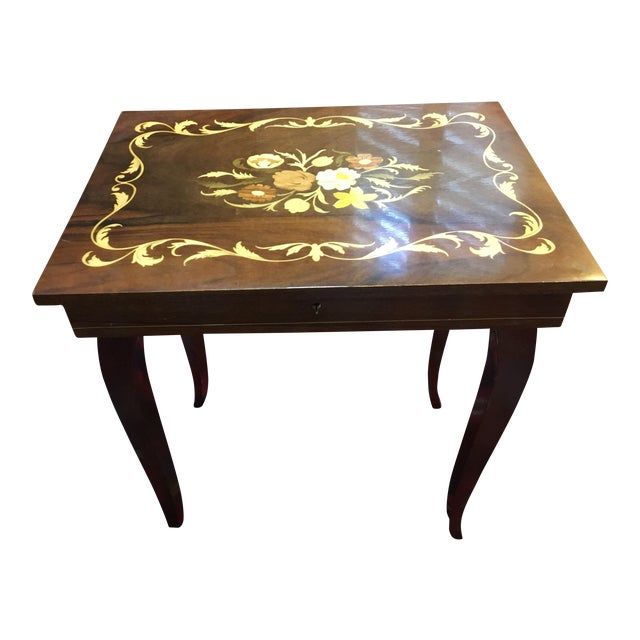 Italian Inlaid Wood Hinged Table With Box
