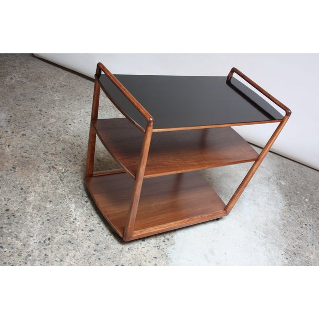 American Modern Walnut Three-Tier Rolling Bar / Tea Cart With Ebonized Surface For Sale In New York - Image 6 of 13