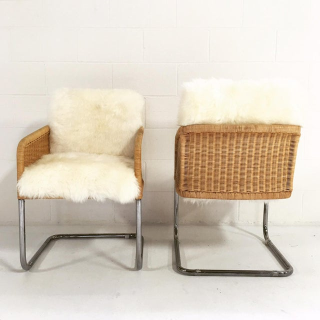 Woven Sheepskin Cushion Chairs - Pair - Image 5 of 6