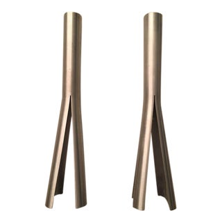 Brushed Steel Candle Holders - A Pair For Sale