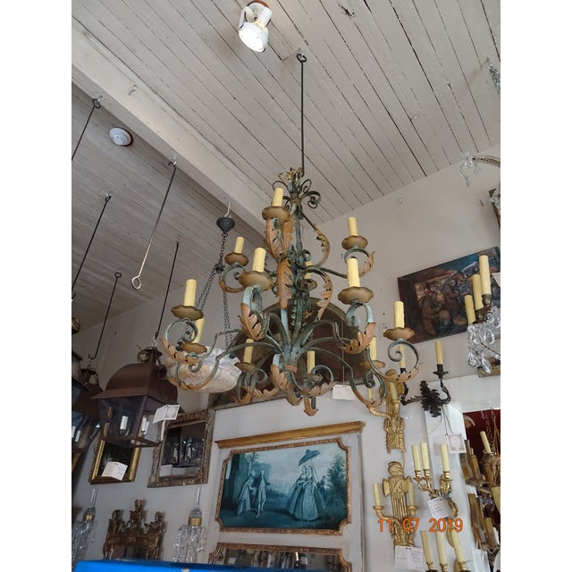Wrought Iron French Chandelier For Sale - Image 11 of 12