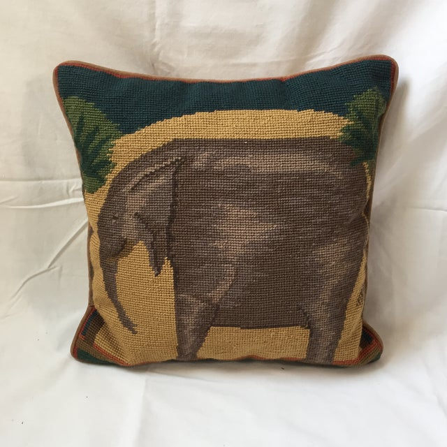 Needlepoint Elephant Accent Pillow - Image 7 of 7