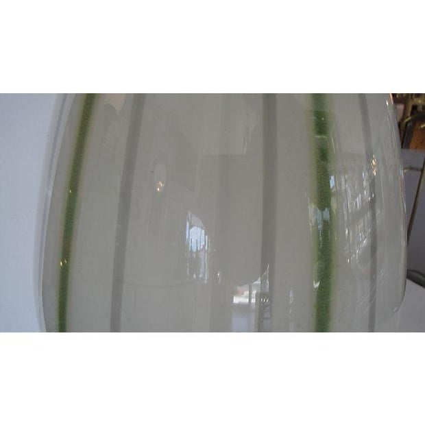 Large Glass Lamp with Green Stripes - Image 4 of 4