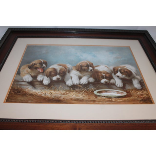 This famous 19th century print is a copy of puppies painting or drawling in a new custom-made frame. The condition is very...