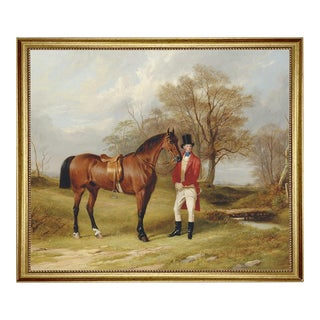 Gentleman Standing Beside Saddled Hunter Framed Oil Painting Print on Canvas in Antiqued Gold Frame For Sale
