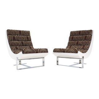 White Lacquer Chrome Bases Scoop Lounge Chairs Mid Century Modern - A Pair For Sale