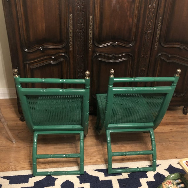 1960s Campeche Green Faux Bamboo Chairs - a Pair For Sale - Image 5 of 9