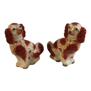 Vintage Terra-Cotta Ceramic Dog Figurines - a Pair For Sale