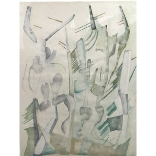 Abstract Expressionist Cactus Desert Watercolor on Paper, J. Toor, 1973 For Sale