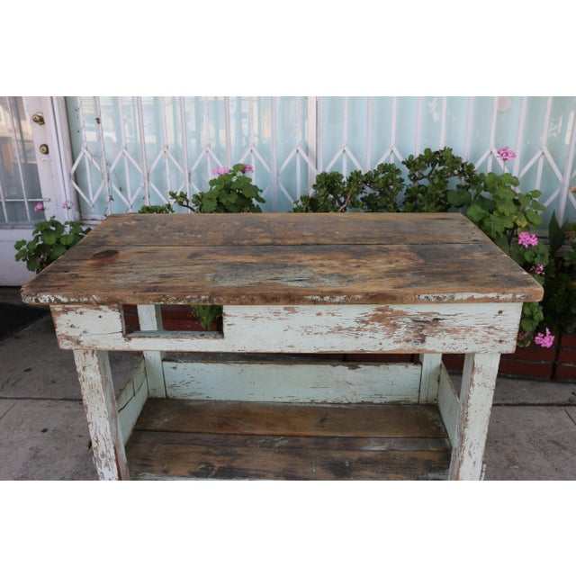 1950s Rustic Distressed Farm Table For Sale - Image 4 of 10