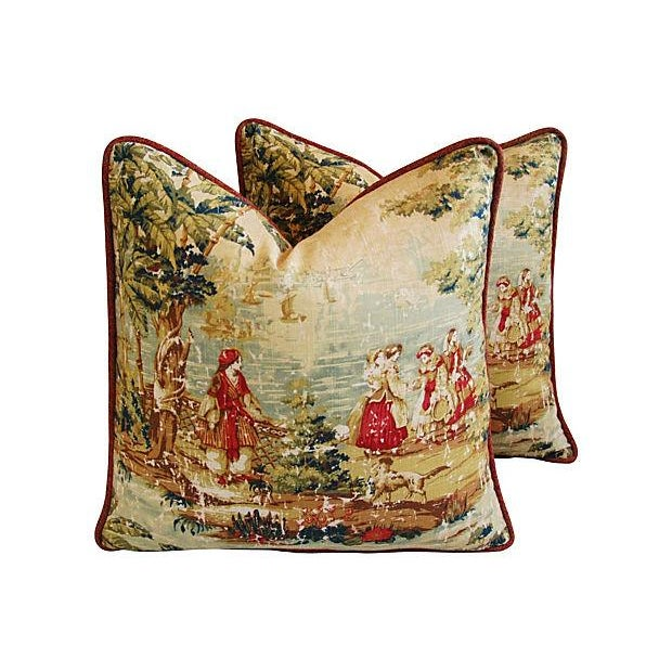 Romantic Custom Renaissance Toile Pillows - Pair - Image 1 of 6