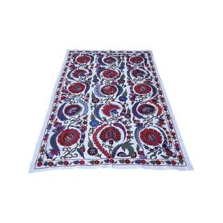 Boho Chic Clove Design Suzani Tapestry, Handmade Crochet Table Cover For Sale