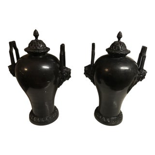 Maitland-Smith Metal Urns - a Pair For Sale