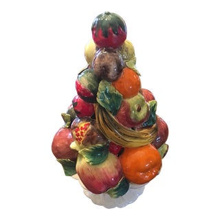 1960s Vintage Mid Century Modern Italian Majolica Fruit Topiary For Sale