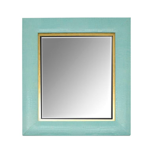 Turquoise Crocodile Embossed Leather Mirror For Sale