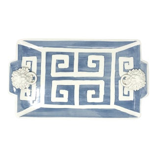 Greek Key Rectangle Tray with Lions Heads in Slate Blue For Sale