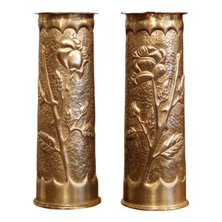 World War I French Trench Artillery Brass Shell Casing Vases, Dated 1915 - a Pair For Sale