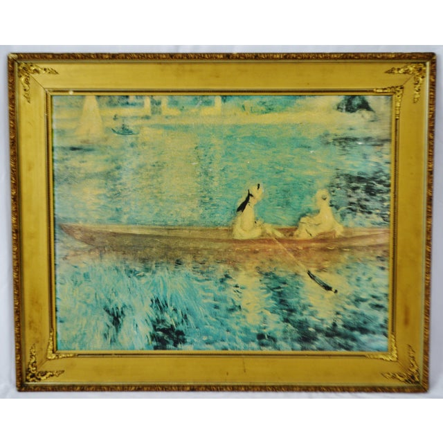 """Vintage Gold Gilt Framed Renoir """"Boating On The Seine"""" Print on Board Condition consistent with age and history. Some loss..."""