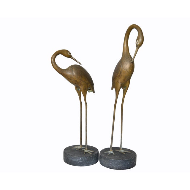 Hollywood Regency Asian Style Bronze Crane Sculptures Black Marble Base, a Pair For Sale - Image 12 of 13