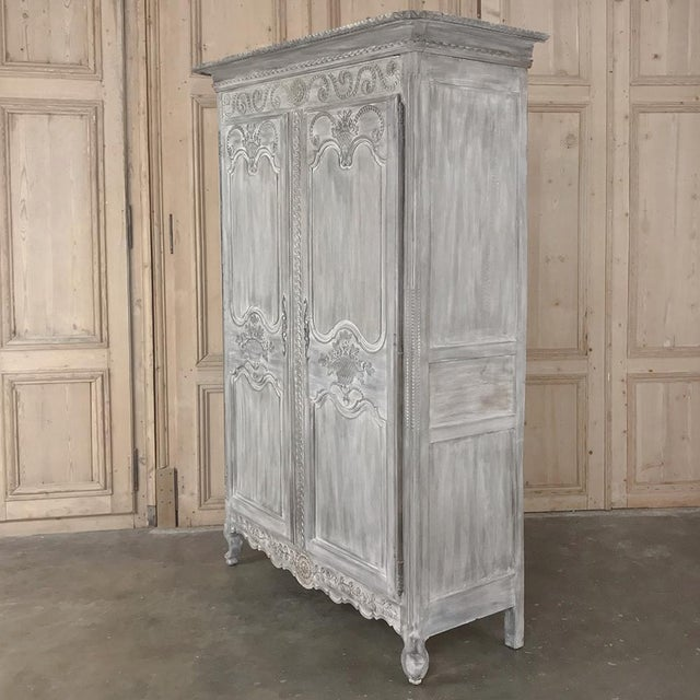Country 19th Century Country French Provincial Whitewashed Armoire For Sale - Image 3 of 13