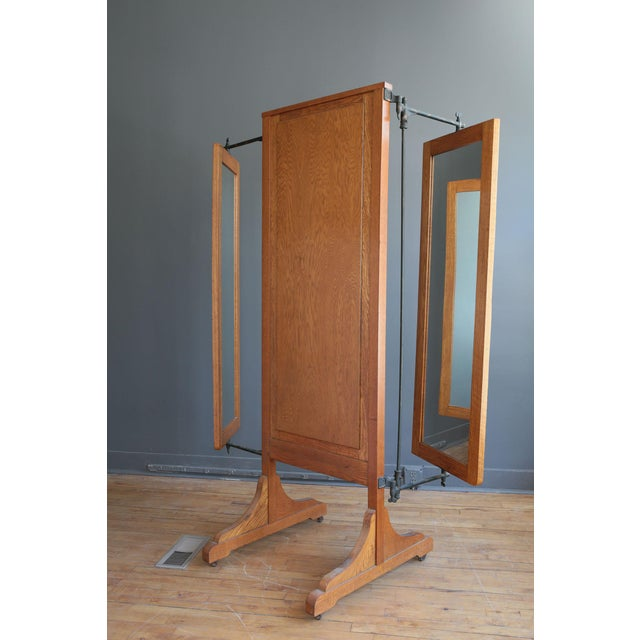 Antique Oak Tri-Fold Dressing Mirror - Image 4 of 4