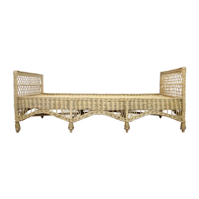 Vintage Wicker Rattan Daybed by Bar Harbor For Sale