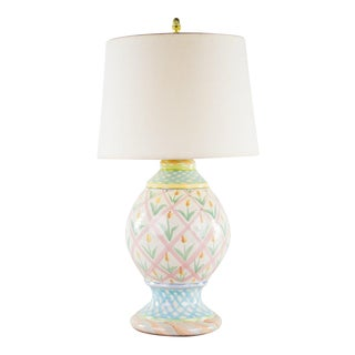 Tulip Motif Hand Painted Porcelain Table Lamp
