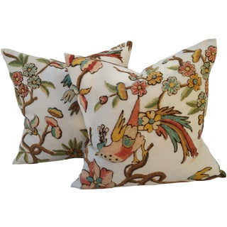 Tropical Bird Crewel Pillow - A Pair