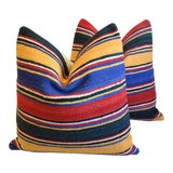 """Image of Turkish Multi-Striped Kilim Feather/Down Pillows 24"""" Square - Pair For Sale"""