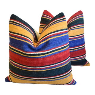 """Turkish Multi-Striped Kilim Feather/Down Pillows 24"""" Square - Pair For Sale"""