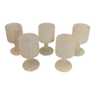 Vintage Onyx Pedestal Shot Glasses - Set of 5