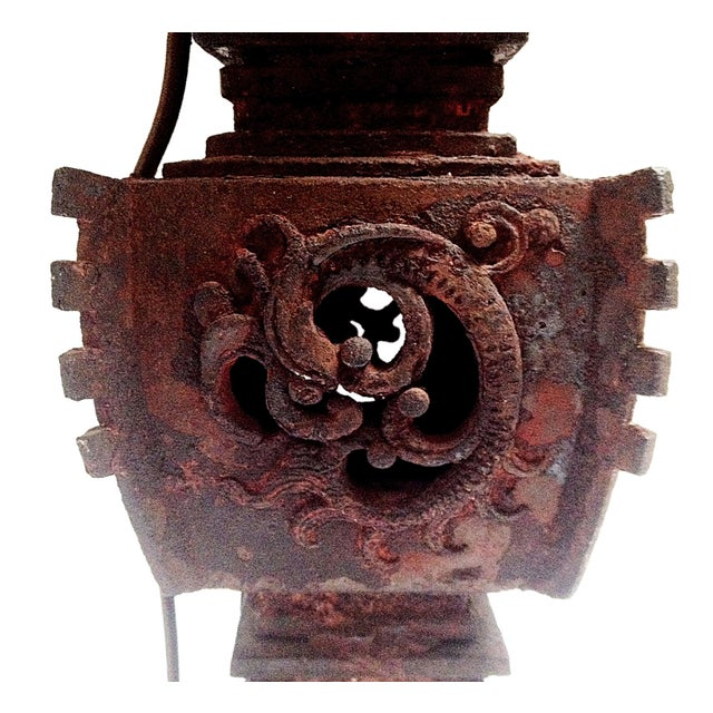 Qing Dynasty Iron Gu Vase Lamps - Pair - Image 5 of 11