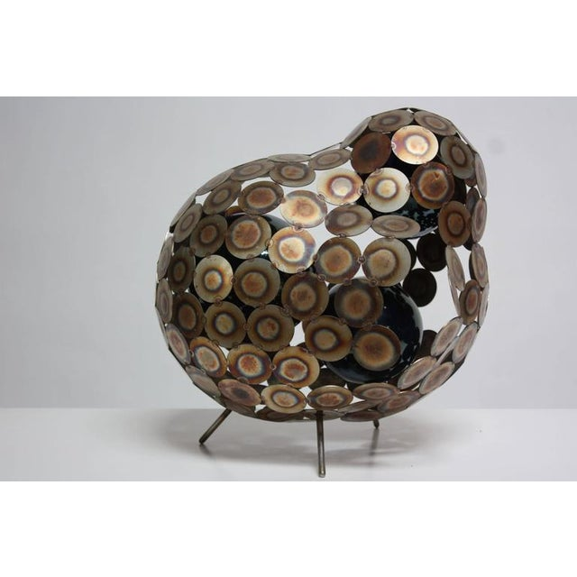 Steel and Enameled Porcelain Abstract Brutalist Table Sculpture - Image 2 of 10