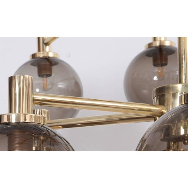 1 of 2 Huge Tinted Glass and Brass Chandelier Attributed to Hans-Agne Jakobsson For Sale - Image 6 of 8