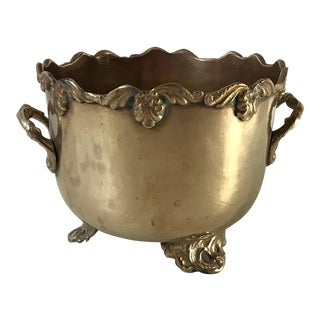 Vintage Mid Century Brass Planter For Sale
