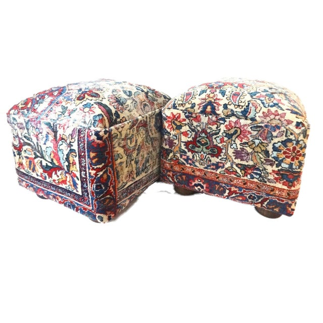 Early 20th Century Ottomans Upholstered with Antique Kirman Savonnerie Rug - a Pair For Sale - Image 5 of 7