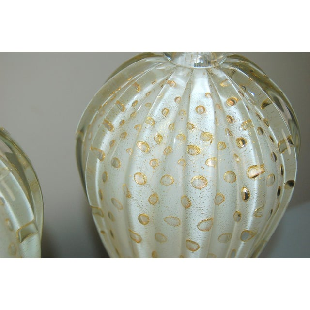 Vintage Murano Glass Table Lamps White Bubbles For Sale - Image 10 of 13