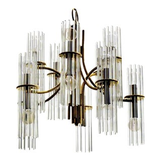 1960s Mid century Modern Gaetano Sciolari for Lightolier Art Glass & Brass Chandelier For Sale