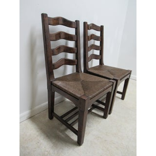 Custom British Colonial Rush Seat Dining Room Chairs - A Pair Preview