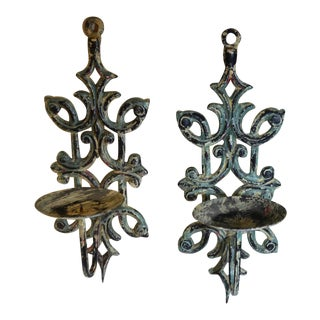 1980s Art Nouveau Cast Iron Wall Sconces - a Pair For Sale