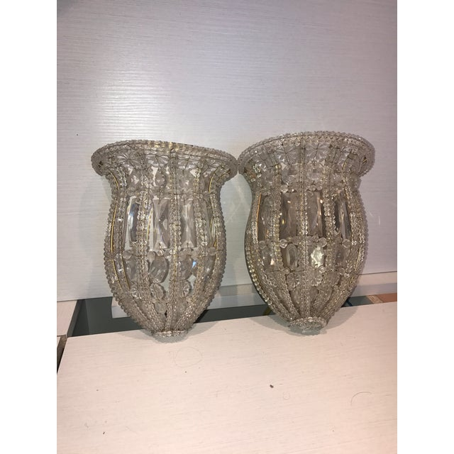 French Crystal Wall Plate Sconces - a Pair - Image 3 of 3