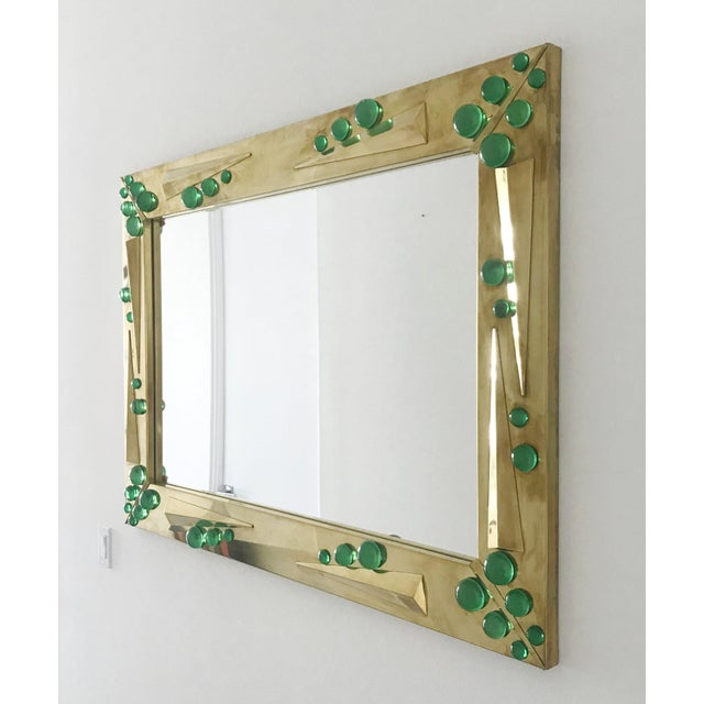 Hollywood Regency Fabio Ltd Verde Green Murano Glass Inserts Brass Mirror For Sale - Image 3 of 10
