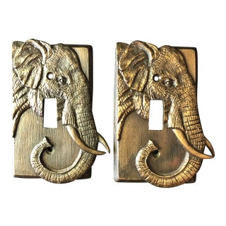 Vintage Brass Elephant Light Switch Plates-A Pair For Sale