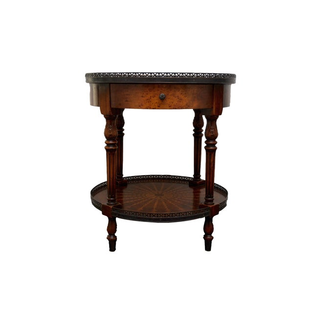 Round End Table With Inlay & Decorative Metal Edge - Image 1 of 5