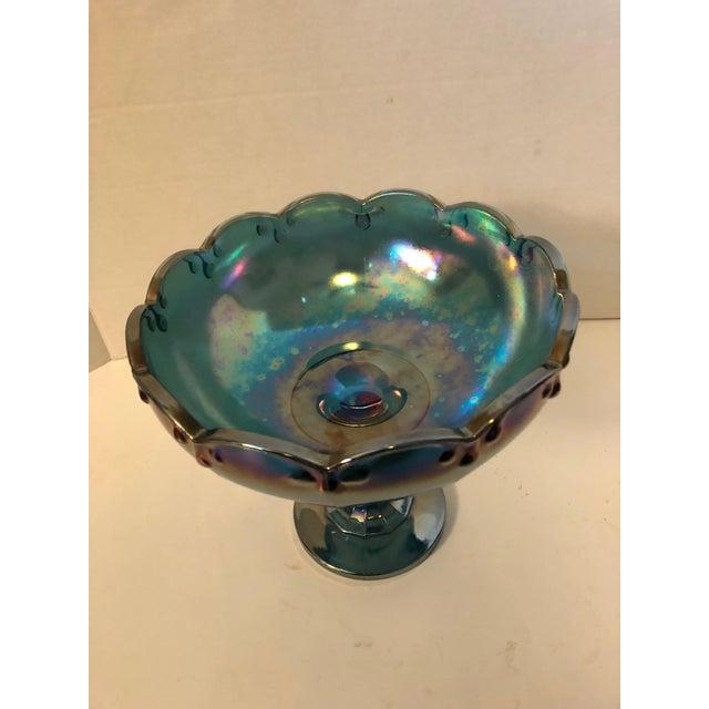 Vintage Carnival Blue Compote Bowl - Image 2 of 6