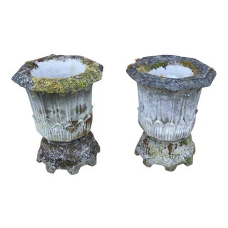 Early 20th Century English Cast Stone Garden Urns- A Pair For Sale
