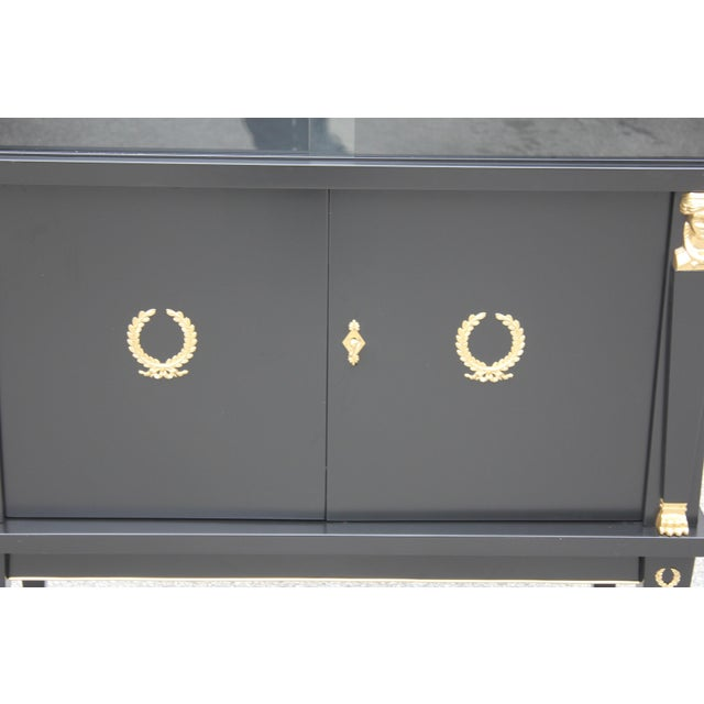 Gold 1920s French Empire Style Mahogany Sideboard or Dry Bar For Sale - Image 8 of 13