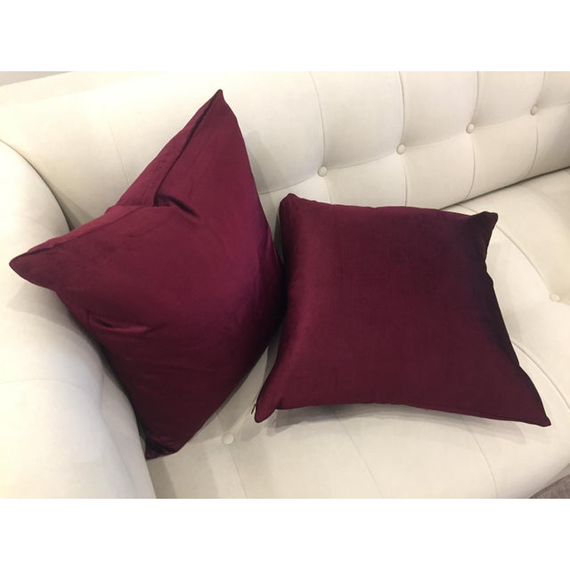 Deep Rich Burgundy Velvet Pillows - A Pair For Sale - Image 4 of 5