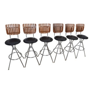 Arthur Umanoff Style Black Leather Slat Back Bar Stools - Set of 6 For Sale